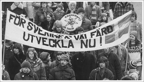 Över 10000 personer samlades för att demonstrera för kärnkraften i Stockholm den 21 mars 1981