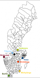 Map of Sweden, with the location of the 8 cities shown.